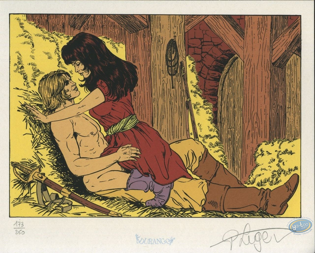 Bookplate Serigraph, Dampierre : Couple in the hay