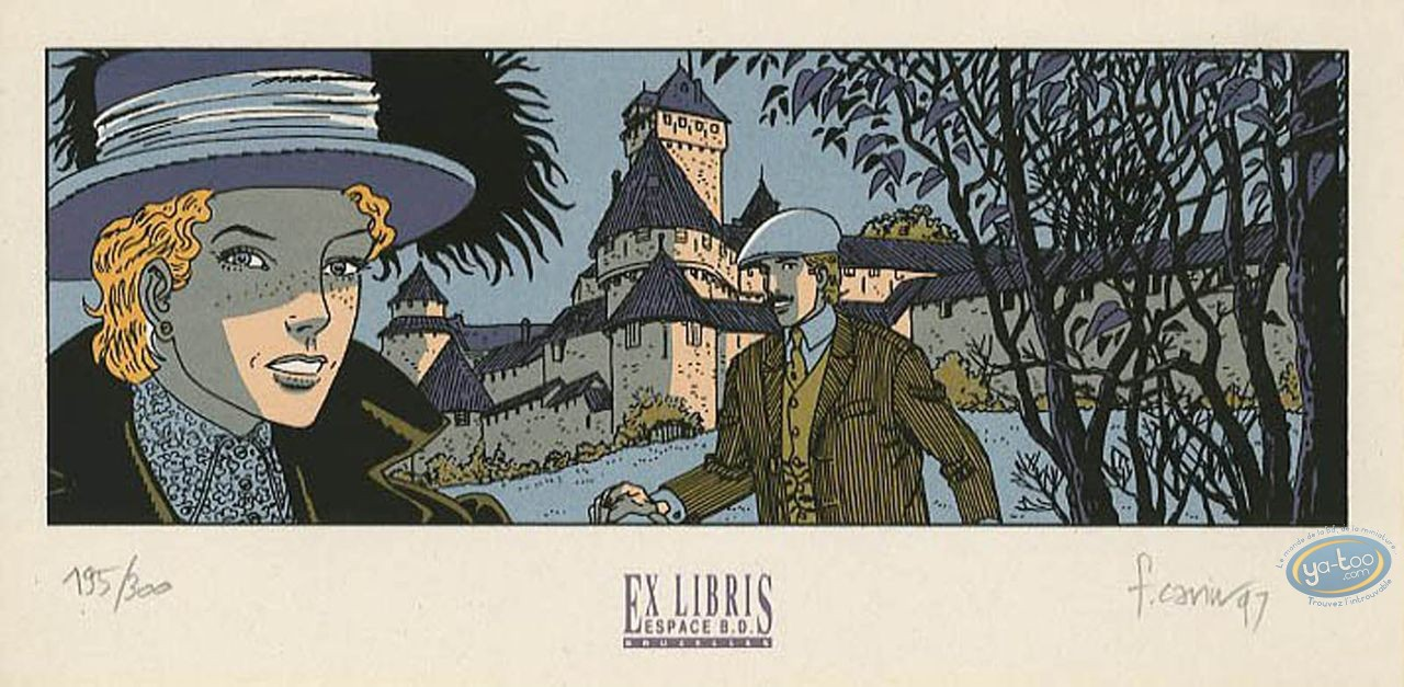 Bookplate Serigraph, Victor Sackville : Leaving the castle
