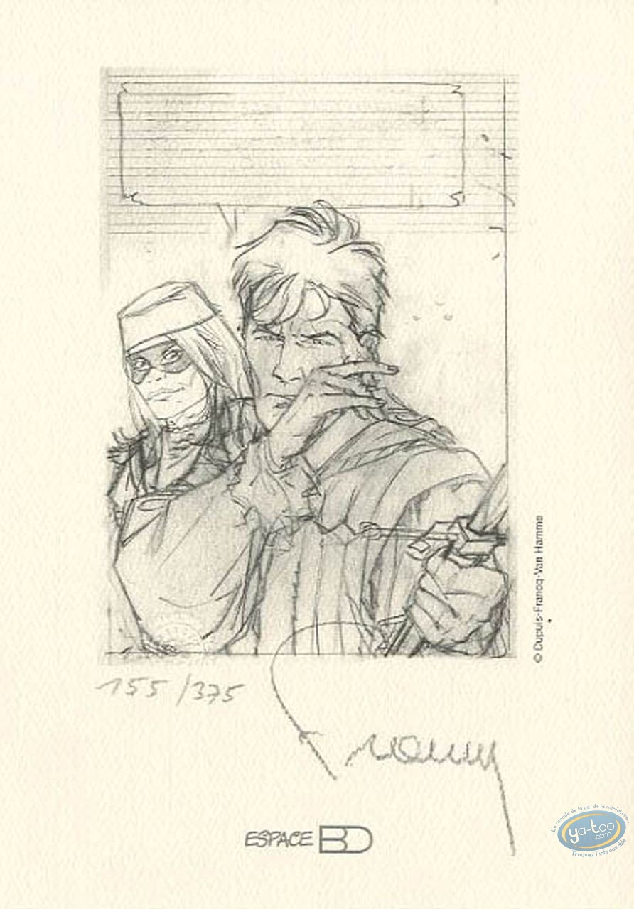 Bookplate Offset, Largo Winch : With a sword (sketch)