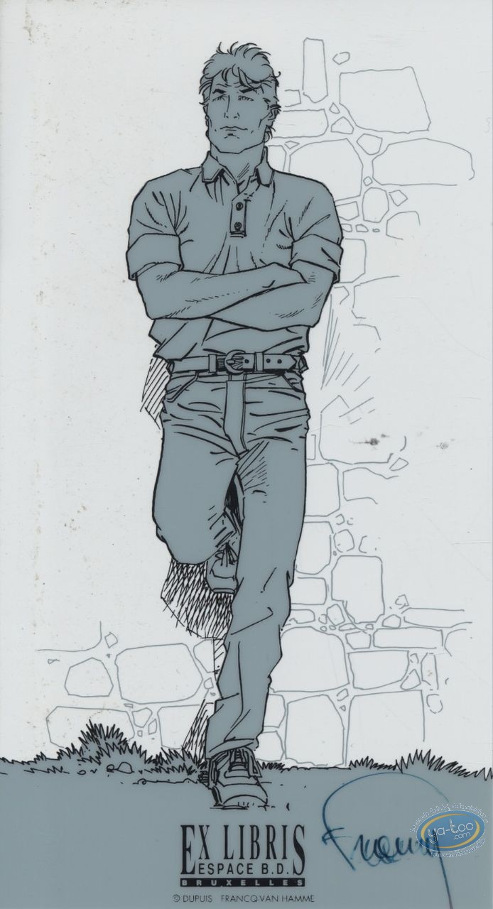 Bookplate Serigraph, Largo Winch : Backed on a wall (tracing paper)