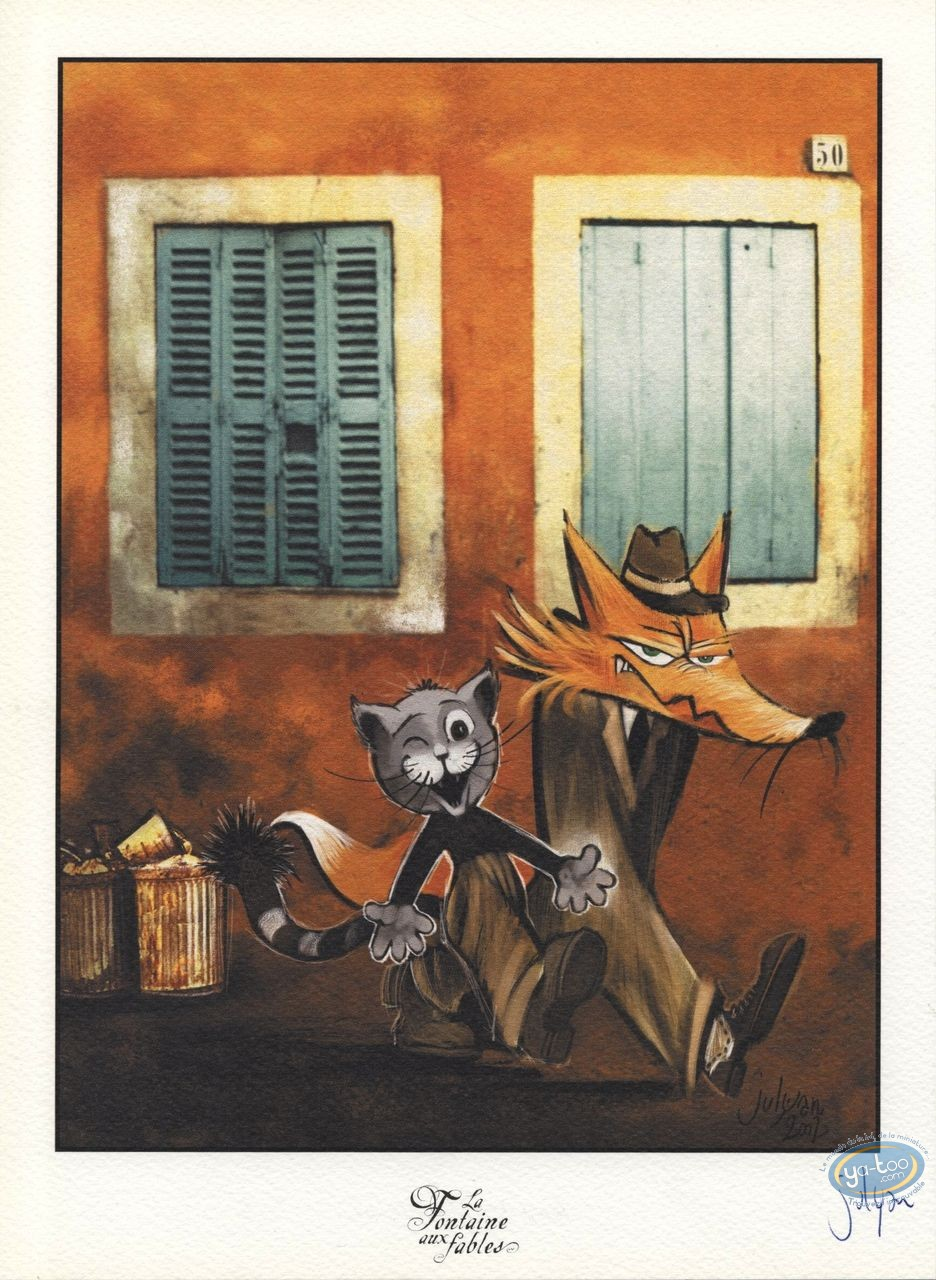 Bookplate Offset, Fontaine aux Fables (La) : The Cat and the Fox