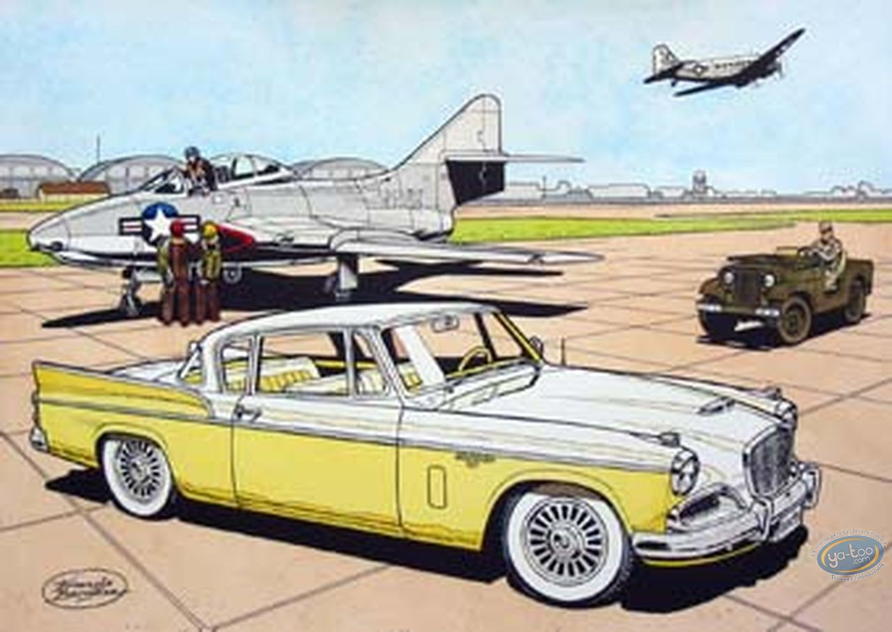 Aquarelle, Buck Danny : Studebaker 57 (yellow)