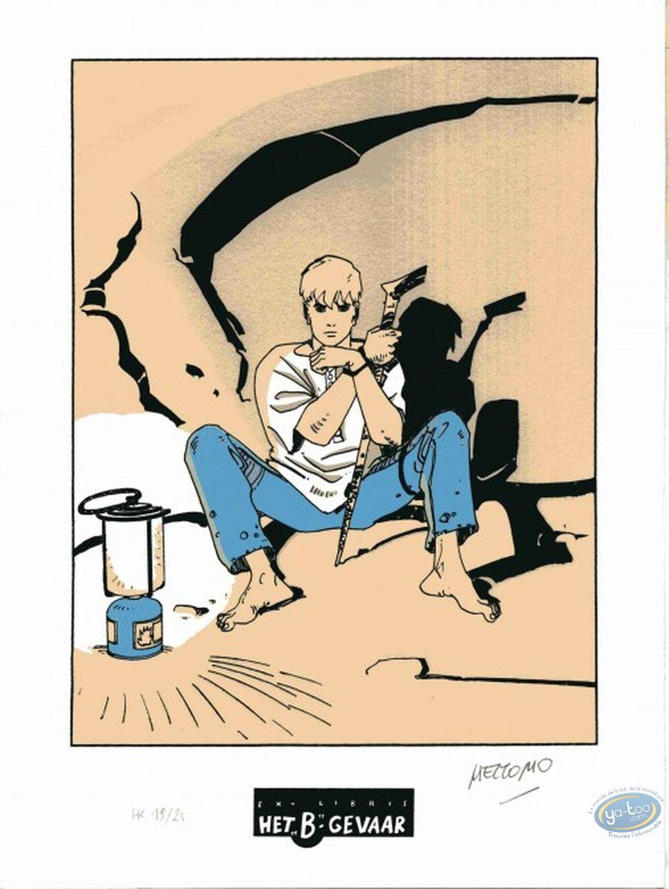 Bookplate Serigraph, Luka : sitting in a cave