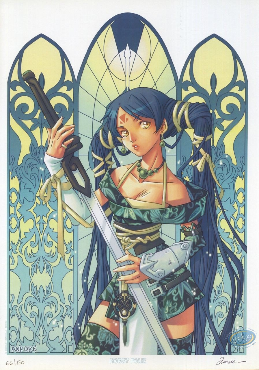 Bookplate Offset, Pixie : Girl with a sword