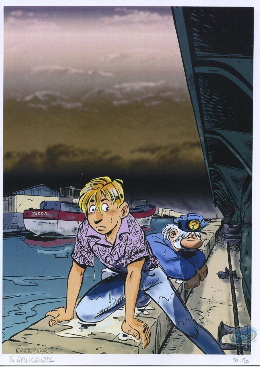 Bookplate Offset, Léo Loden : Leo & Tonton outside water