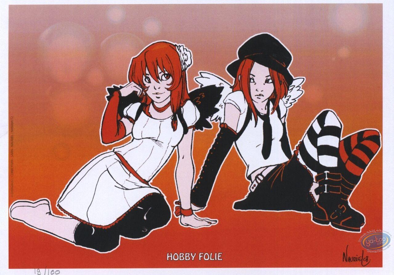 Bookplate Offset, Nanami : 2 girls sitting