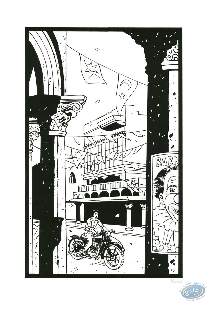 Serigraph Print, Jimmy Boy : Riding a Motorbike (b&w)