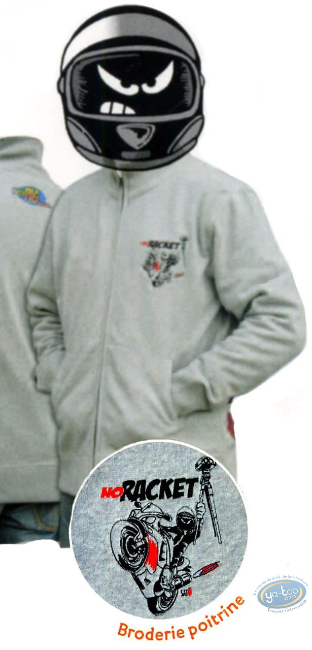 Clothes, Même pas Peeur : Zipped sweat: NO RACKET grey ash - XL