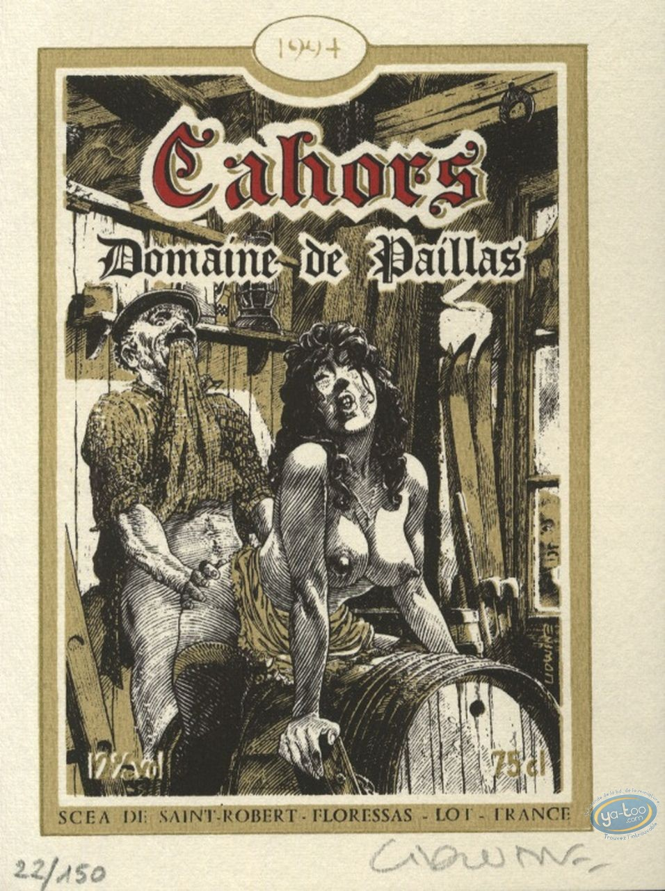 Bookplate Serigraph, Lidwine : Cahors 1994