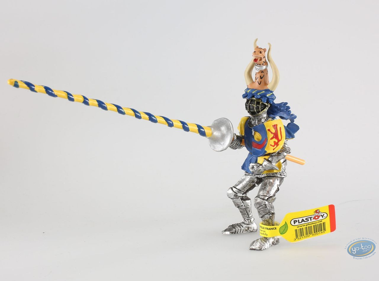 Plastic Figurine, Knight crest lepoard, yellow and blue
