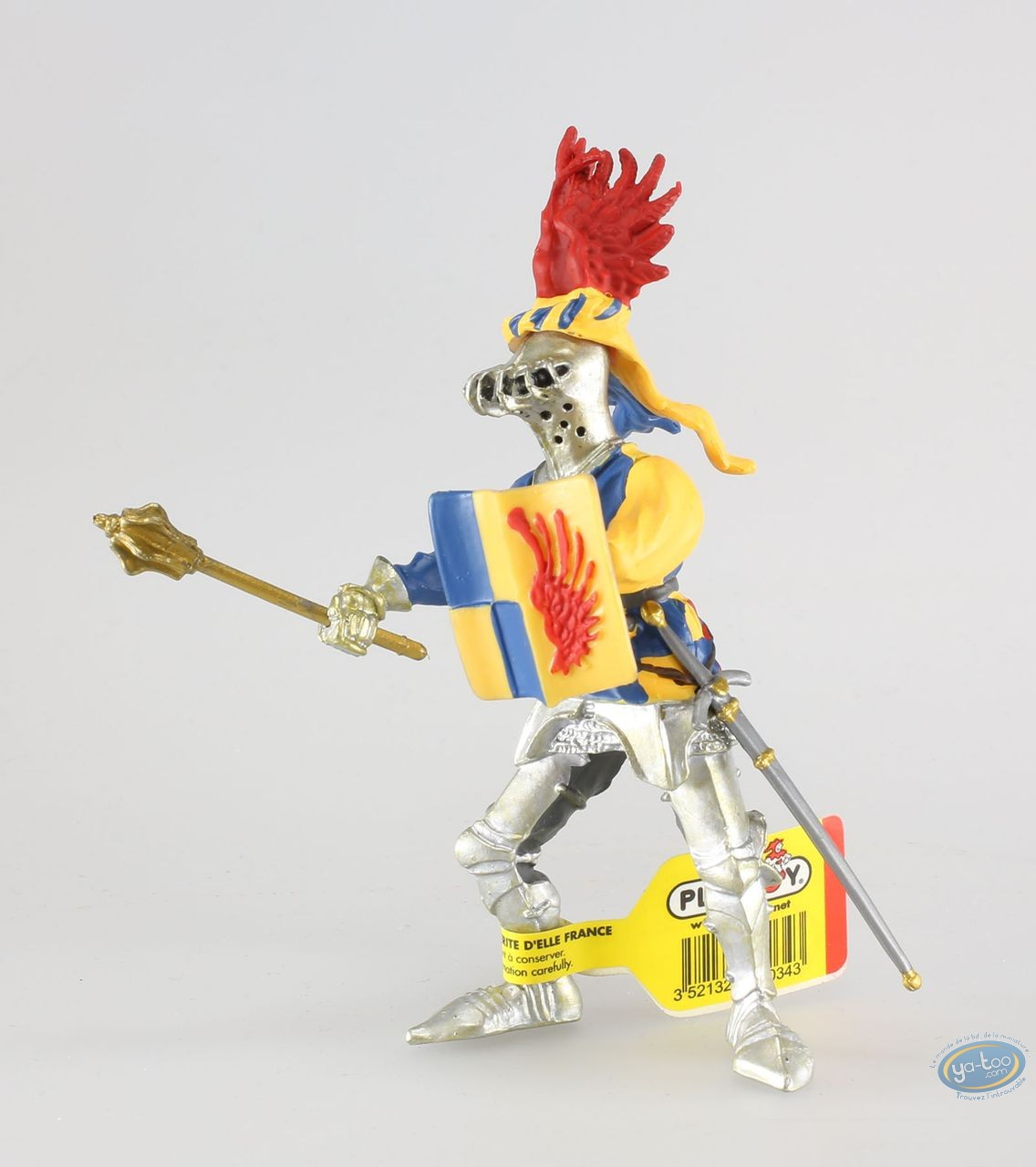 Plastic Figurine, Knight, red wings, blue checkerboard