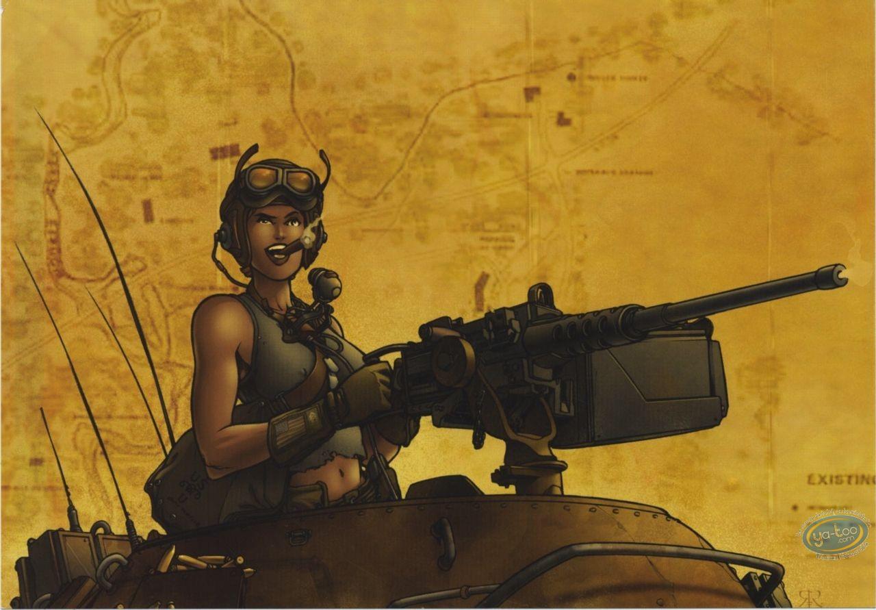 Bookplate Offset, Golden City : Woman with machine gun