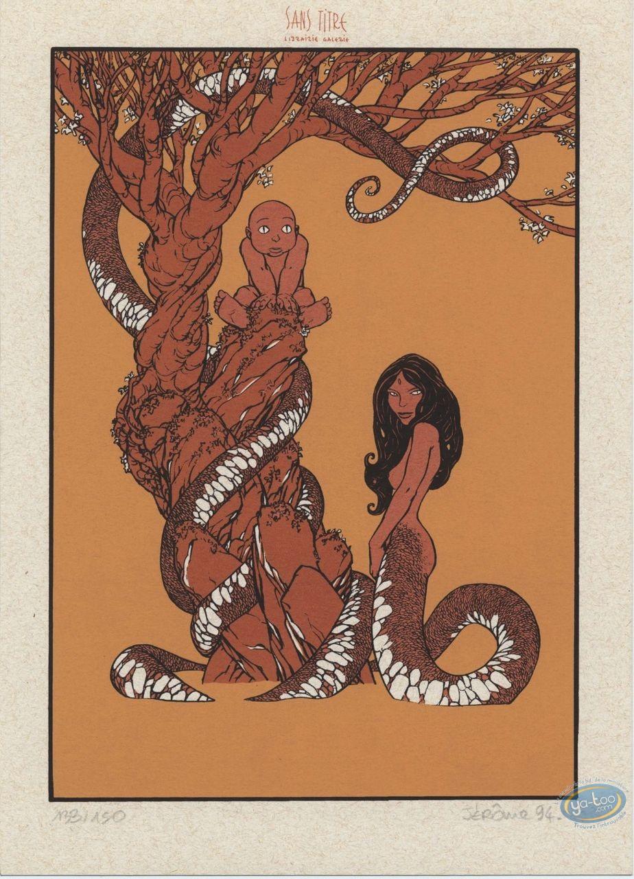 Bookplate Serigraph, Cairn : Femme serpent
