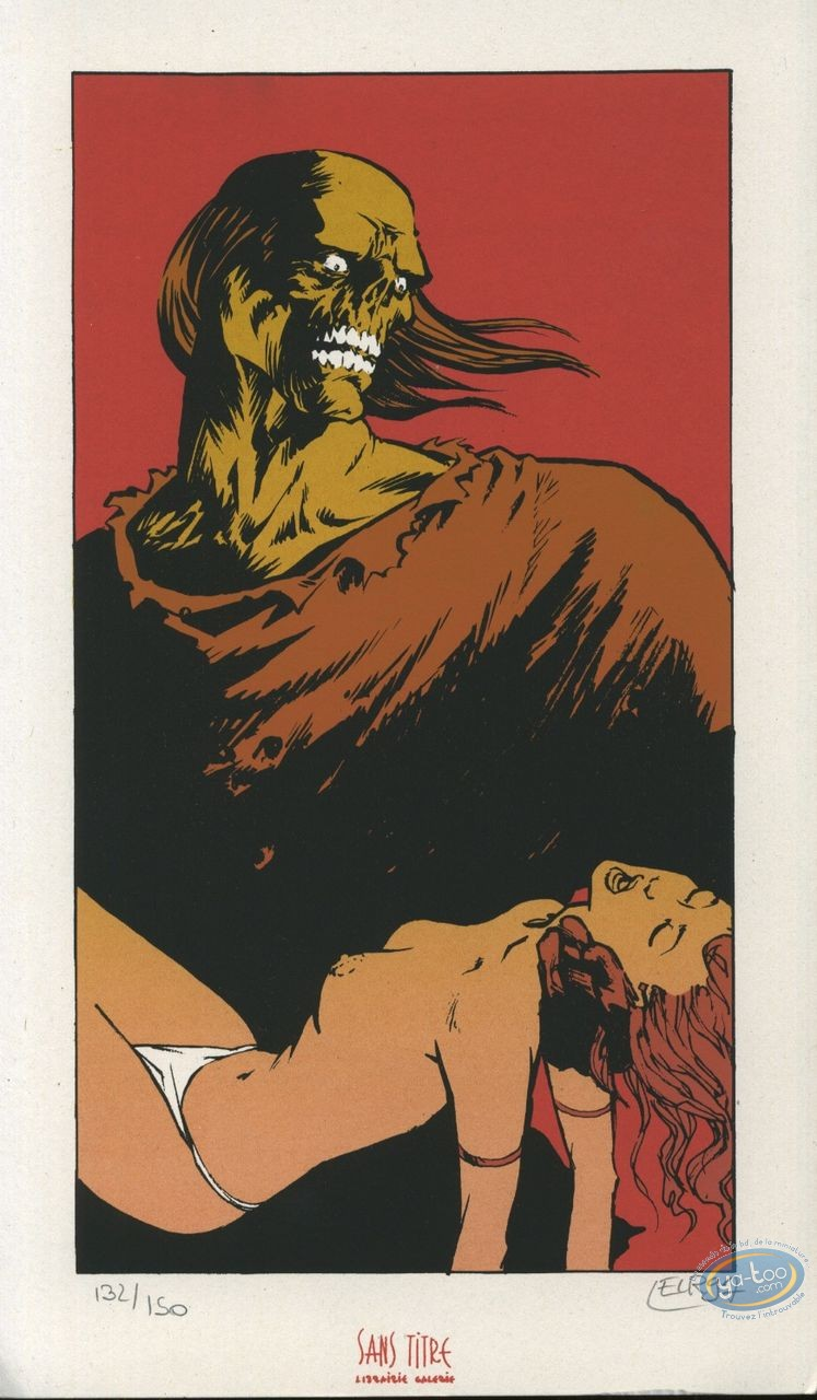 Bookplate Serigraph, Serment de l'Ambre (Le) : The beauty and the skeleton