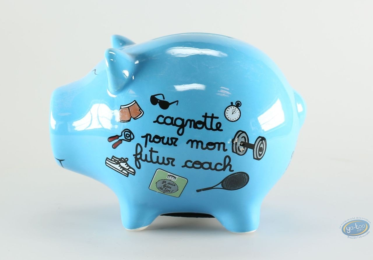 Piggy Bank, Déco et des Mots : Blue Ceramic Piggy Bank : 'Pour mon futur coach'