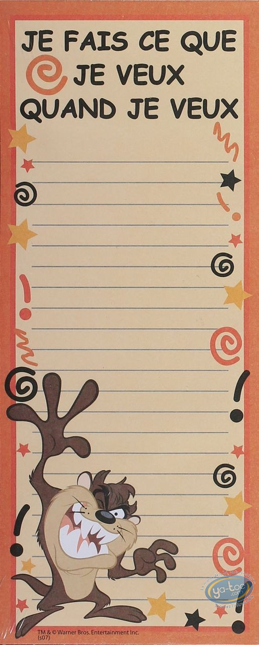 Office supply, Taz : Magnetic reminder, Taz (60 sheets)