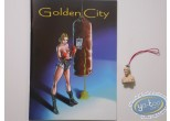 Resin Keyring, Golden City : Amber bust