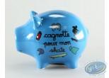Piggy Bank, Déco et des Mots : Blue Ceramic Piggy Bank : 'Pour Mon skate