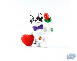 Bulldog with heart and flowers
