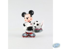 Mickey in dress of soccer, white pea jacket, Disney