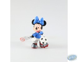 Minnie in dress of soccer, blue pea jacket, Disney