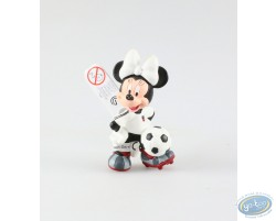 Minnie in dress of soccer, white pea jacket, Disney