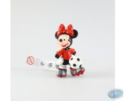 Minnie in dress of soccer, red pea jacket, Disney