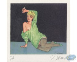 Green dress, sitting with a cigarette holder
