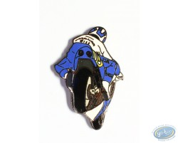 Racing motorcycle - white and blue back view