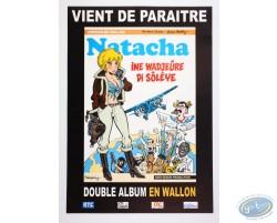 Advertising poster in Walloon 'Natacha Ine Wadjeûre di sôlêye' of Walthéry