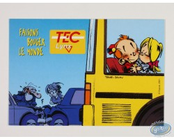 Advertising postcard, Le petit Spirou and Suzette in the bus  'Faisons bouger le monde'