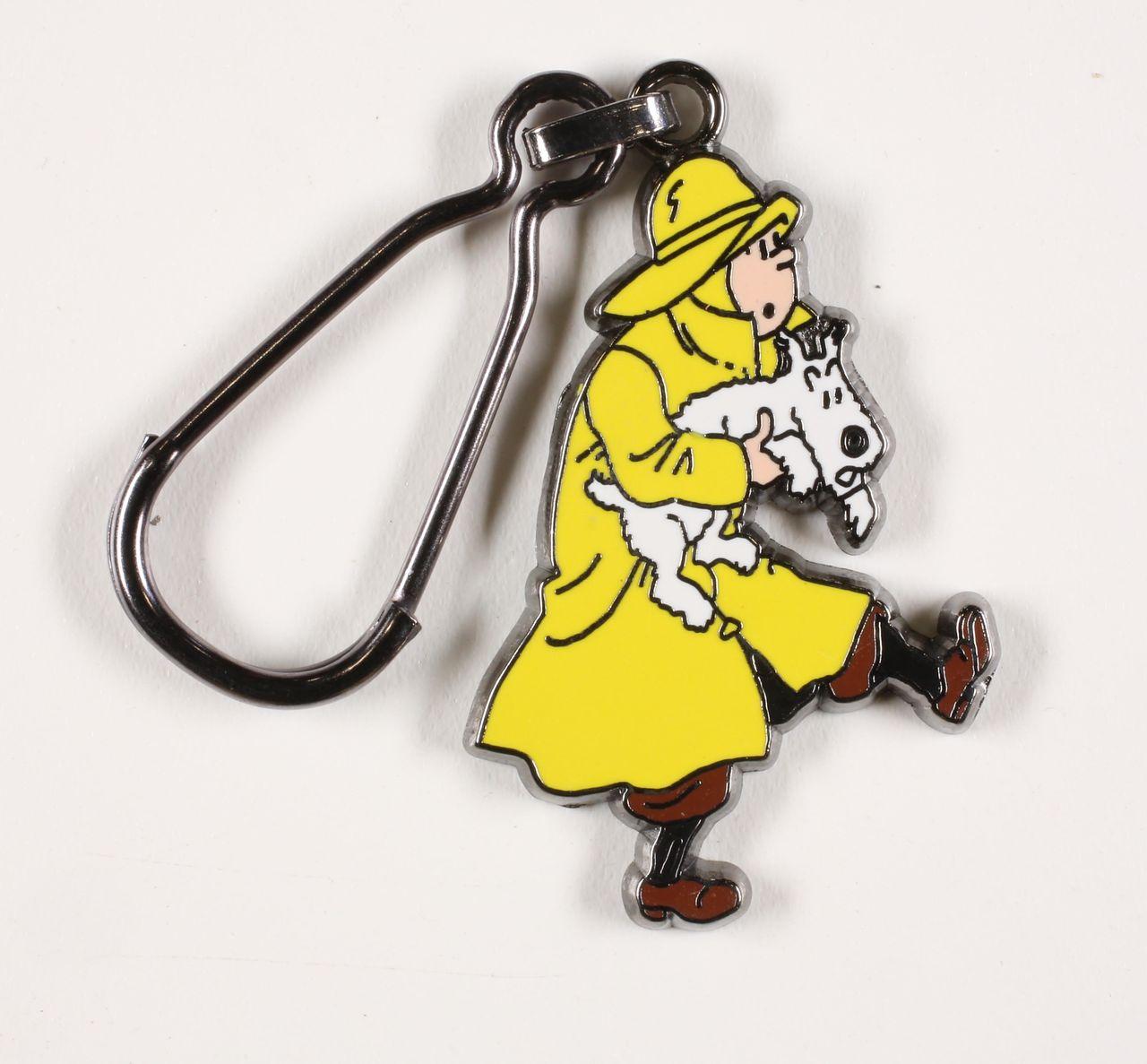 Figurine métal Tintin Tintin en imperméable sauve Milou bas relief Corner