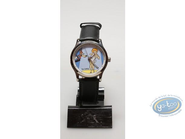 Horlogerie, Tex Avery : Montre bracelet en cuir noir, Le loup