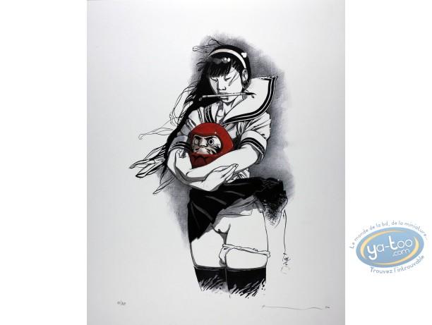 Affiche Offset, Kogaratsu : Fille avec un daruma