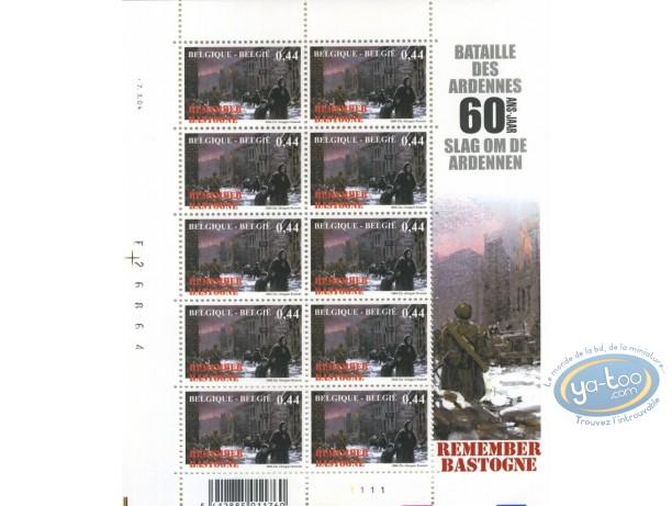 Timbre, Bataille des Ardennes (La) : Planche de 10 timbres femme & enfant, Remember Bastogne