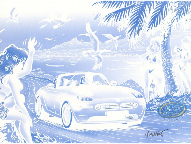 Affiche Offset, Pin-Up : Caroline Baldwin (bleu sans noir)