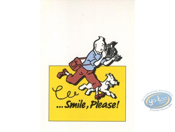 Carte postale, Tintin : ...Smile, please ! - Jaune (verticale)