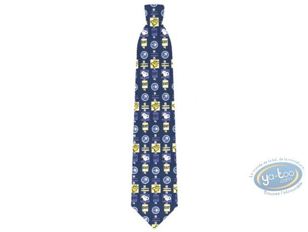 Vêtement, Snoopy : Cravate, Snoopy panneaux signalisation bleu / vert