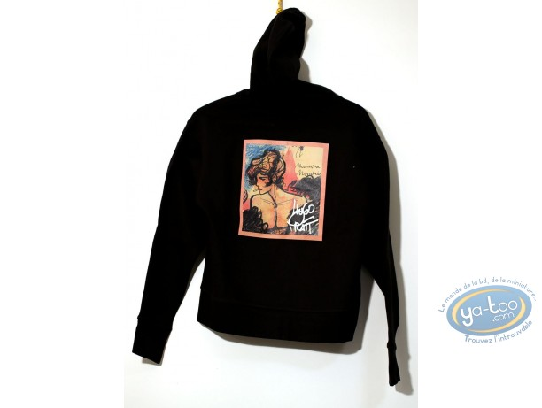 Vêtement, Corto Maltese : Sweat-shirt, Capuche noir 04-03 taille XS