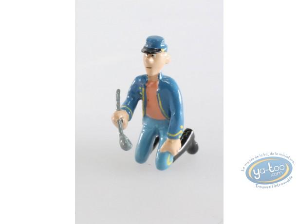 Figurine métal, Tuniques Bleues (Les) : Soldat à genoux avec louche