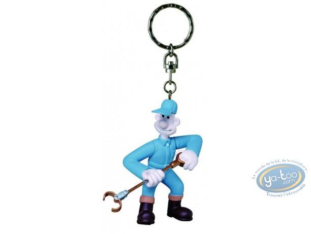 Figurine plastique, Wallace et Gromit : Porte-clef Wallace antipesto