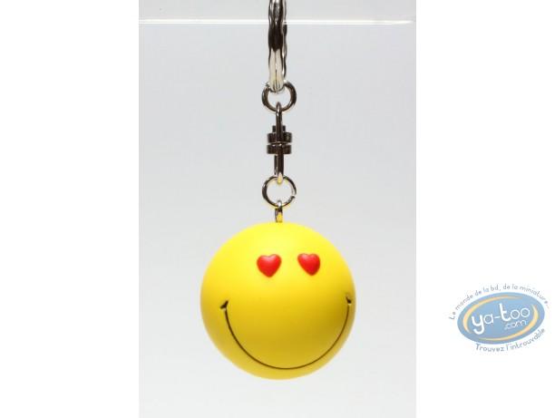 Figurine plastique, Smiley : Porte-clef Smiley coeur