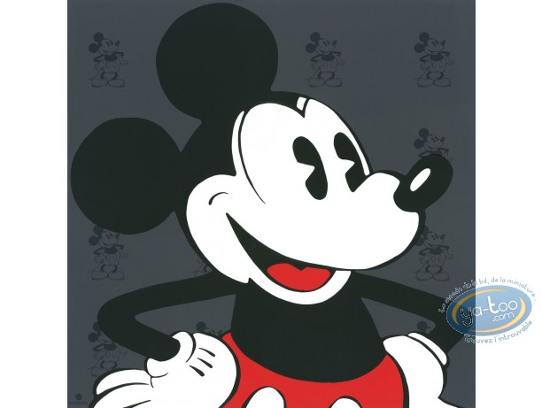 Affiche Sérigraphie, Mickey Mouse : Visage Mickey (gris), Disney