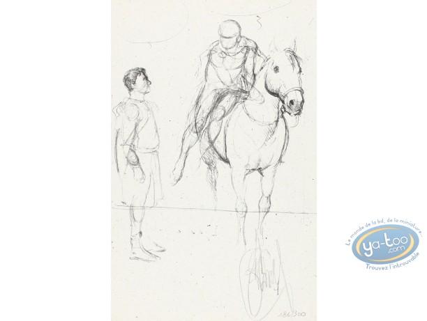 Ex-libris Offset, Murena : Homme et cavalier (croquis)