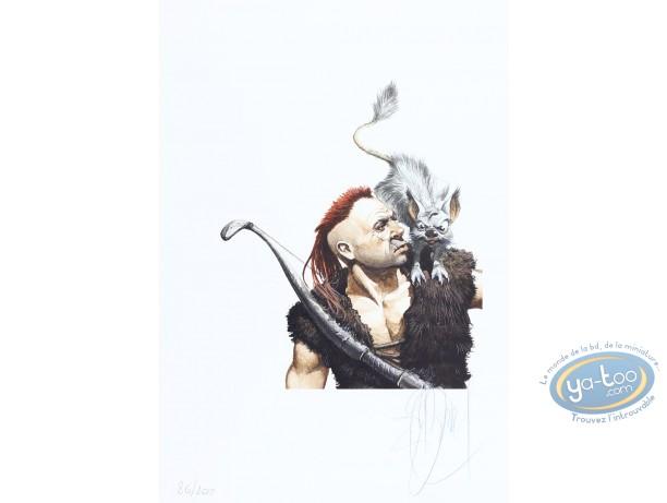 Ex-libris Offset, Murena : Guerrier avec animal sur l'épaule