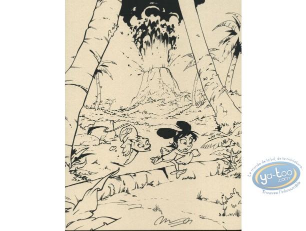 Ex-libris Sérigraphie, Navis : L'éruption (fond gris-vert)