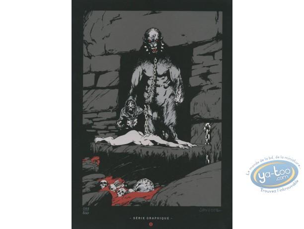 Ex-libris Sérigraphie, Terres d'Ombre : Monstre enchaîné et femme nue