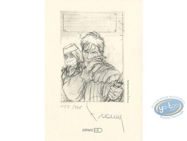 Ex-libris Offset, Largo Winch : A l'épee (crayonné)