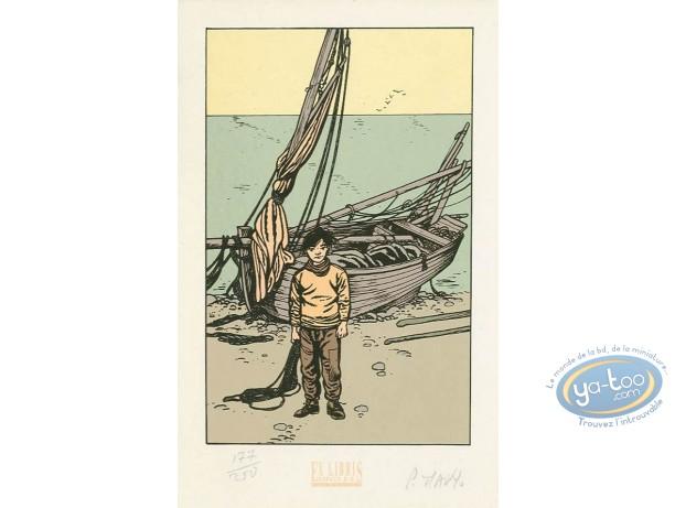 Ex-libris Sérigraphie, Coeur en Islande (Le) : Barque sur la plage