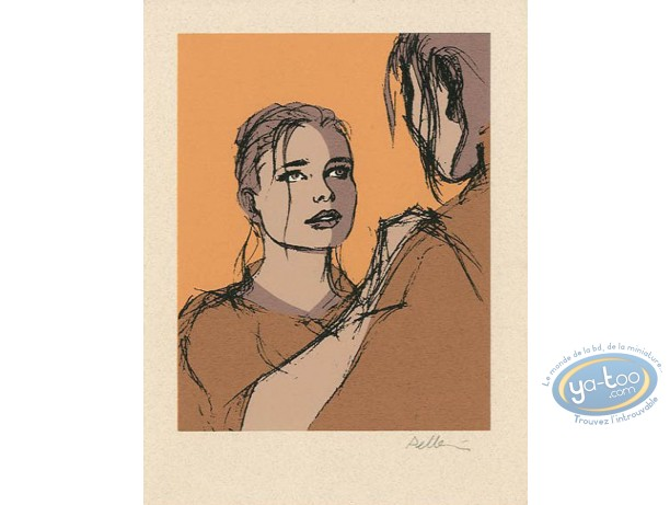 Ex-libris Sérigraphie, Epervier (L') : Marion (fond orange)